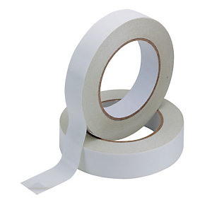 Q CONNECT Cinta adhesiva de doble cara, polipropileno, blanco, 25 mm x 33 m