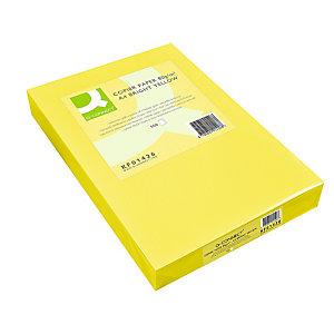 Q CONNECT Papel de colores para Faxes, Fotocopiadoras e Impresoras de Inyección de Tinta y láser, Amarillo intenso A4 80 g/m²