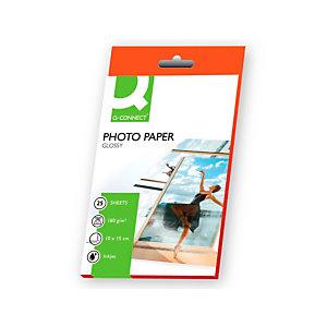 Q CONNECT Papel fotográfico para impresoras inkjet, Blanco Brillante 100 x 150 mm 180 g/m2