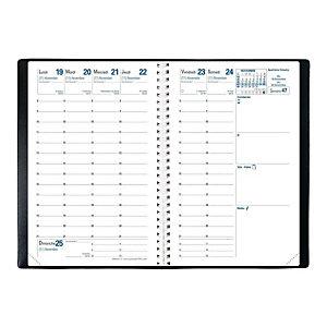 QUO VADIS Agenda semainier à spirale AFFAIRES S CLOVER TOSCANA - 10 x 15 cm - Bleu - Décembre 2020 à Décembre 2021