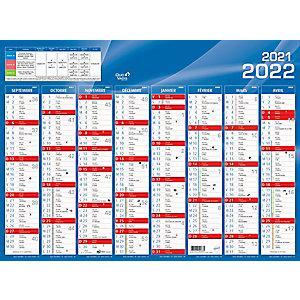 QUO VADIS Calendrier mural annuel Rentrée des classes - grille 16 mois - 55 x 40,5 cm - 2021/2022