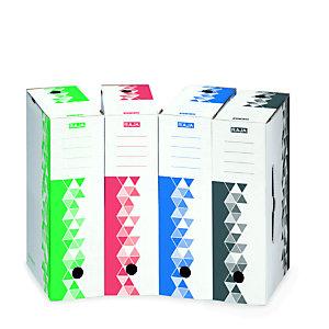 RAJA 25 boîtes archives dos 10 cm + 10 caisses archives Premium couleurs assorties