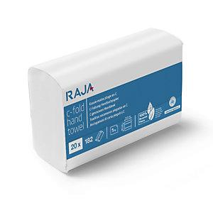 RAJA Asciugamani di carta piegati, 1 velo, 182 fogli, Piega a C, Finitura goffrata, Riciclati, Bianco naturale (20 pacchi da 182 asciugamani)