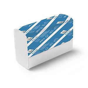 RAJA Asciugamani di carta piegati, 2 veli, 210 fogli, Intercalati a V, Finitura goffrata, Bianco (15 pacchi da 210 asciugamani)