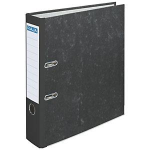 RAJA AZ Archivador de palanca, A4, Lomo 80 mm, Capacidad 500 hojas, Cartón reciclado, Negro jaspeado