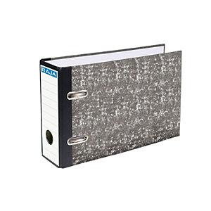 RAJA AZ Neoclas Archivador de palanca, 4º apaisado, Lomo 70 mm, Capacidad 500 hojas, Cartón resistente recubierto de papel impreso, Negro jaspeado