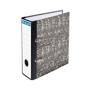 RAJA AZ Neoclas Archivador de palanca, 4º natural, Lomo 70 mm, Capacidad 500 hojas, Cartón resistente recubierto de papel impreso, Negro jaspeado