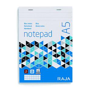 RAJA Bloc Direction  A5( 14,8 x 21 cm) 200 pages - petits carreaux 5x5 - Non perforé