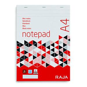 RAJA Bloc-notes A4 (21 x 29,7 cm) 100 feuilles 60 g/m² - petits carreaux 5 x 5 mm