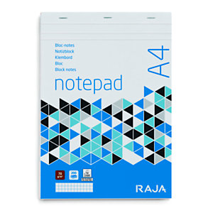 RAJA Bloc-notes A4 (21 x 29,7 cm), 200 pages non perforées 70 g/m² - petits carreaux 5 x 5 mm