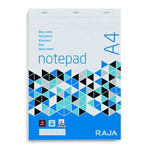 RAJA Bloc-notes A4 (21 x 29,7 cm), 200 pages non perforées 70 g/m² - petits carreaux 5 x 5 mm