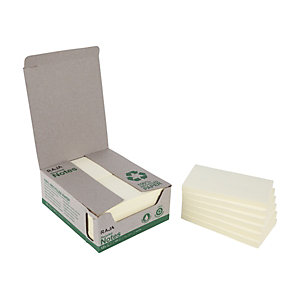RAJA Blocs de notas recicladas autoadhesivas, 76 x 127 mm, 70 gramos, amarillo pastel
