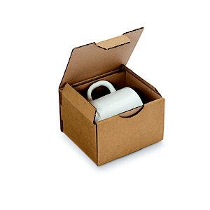 RAJA Boîte d'expédition brune en carton simple cannelure - L.int. 12 x l.10 x H.8 cm