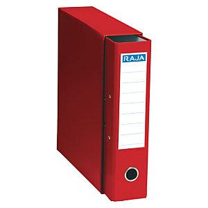 RAJA Box de 1 archivador de palanca, A4, Lomo 75 mm, Capacidad 500 hojas, Cartón resistente recubierto de papel impreso, Rojo
