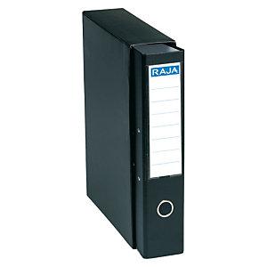 RAJA Box de 1 archivador de palanca, Folio, Lomo 75 mm, Capacidad 500 hojas, Cartón resistente recubierto de papel impreso, Negro