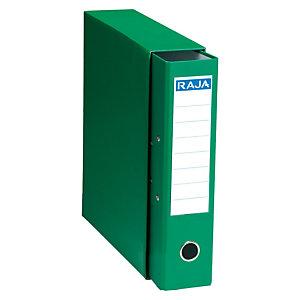 RAJA Box de 1 archivador de palanca, Folio, Lomo 75 mm, Capacidad 500 hojas, Cartón resistente recubierto de papel impreso, Verde