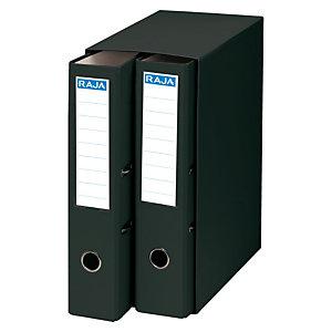 RAJA Box de 2 archivadores de palanca, A4, Lomo 75 mm, Capacidad 500 hojas, Cartón resistente recubierto de papel impreso, Negro