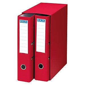 RAJA Box de 2 archivadores de palanca, A4, Lomo 75 mm, Capacidad 500 hojas, Cartón resistente recubierto de papel impreso, Rojo