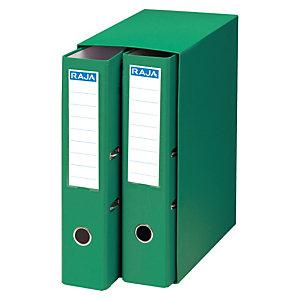 RAJA Box de 2 archivadores de palanca, A4, Lomo 75 mm, Capacidad 500 hojas, Cartón resistente recubierto de papel impreso, Verde