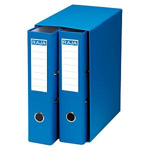 RAJA Box de 2 archivadores de palanca, Folio, Lomo 75 mm, Capacidad 500 hojas, Cartón resistente recubierto de papel impreso, Azul