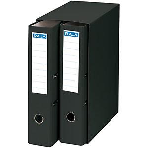 RAJA Box de 2 archivadores de palanca, Folio, Lomo 75 mm, Capacidad 500 hojas, Cartón resistente recubierto de papel impreso, Negro