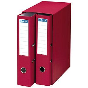 RAJA Box de 2 archivadores de palanca, Folio, Lomo 75 mm, Capacidad 500 hojas, Cartón resistente recubierto de papel impreso, Rojo