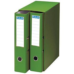 RAJA Box de 2 archivadores de palanca, Folio, Lomo 75 mm, Capacidad 500 hojas, Cartón resistente recubierto de papel impreso, Verde