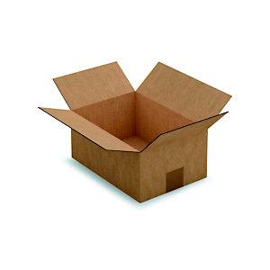RAJA Caisse américaine carton simple cannelure - L.int.,27 x l.19 x h.12 cm - Kraft brun