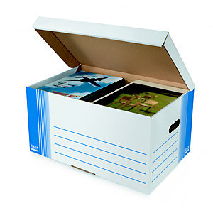 RAJA Caisse archives format maxi montage automatique grande capacité en carton - Blanc / Bleu
