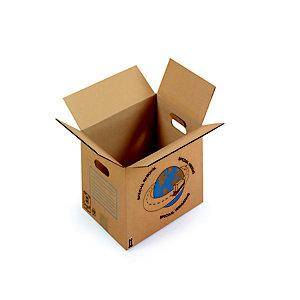 RAJA Caisse de déménagement en carton brun simple cannelure avec poignées - L.int.35 cmx l.27,5 x H.30 cm