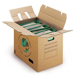 RAJA Caisse de déménagement montage rapide en carton brun double cannelure avec poignées - L.44 X l.34 X H.48 cm