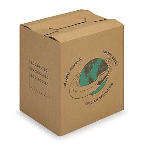 RAJA Caisse de déménagement montage rapide en carton brun doublee cannelure avec poignées - L.int.55 cmx l.35 x H.30 cm