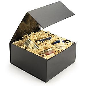 RAJA Caja regalo charol cierre de imán 225 x 225 x 105 (largo x ancho x alto), Negra