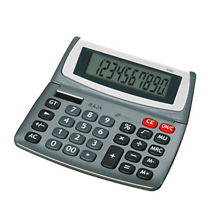 RAJA Calcolatrice da tavolo 550, 10 cifre, Grigio metallizzato