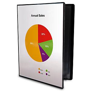 RAJA Carpeta de fundas A4, 12 fundas, portada personalizable, cubierta flexible, negro