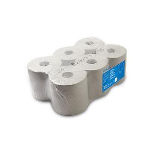 RAJA Carta asciugamani in rotolo per dispenser, 2 veli, 450 fogli, Finitura goffrata, Bianco (confezione 6 rotoli)