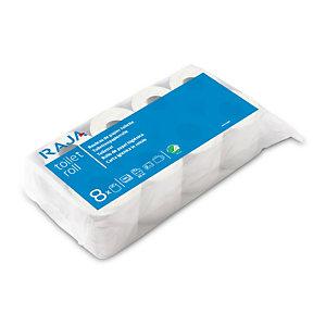 RAJA Carta igienica standard in rotolo, 2 veli, 180 fogli, Finitura goffrata, Bianco (confezione 8 rotoli)