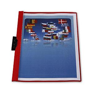 RAJA Cartellina con clip fermafogli, Capacità 30 fogli, PVC, Rosso (confezione 25 pezzi)
