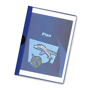 RAJA Chemise à clip métal  en PVC - Bleu - 30 feuilles