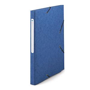 RAJA Chemise à élastiques 3 rabats  Carte lustrée 5/10 - Format 24 x 32 cm - Dos 2,5 cm  - Bleu