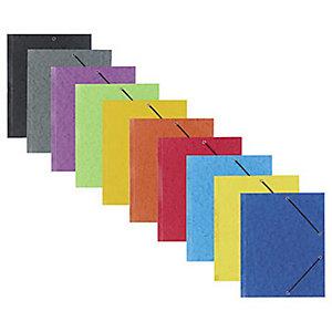 RAJA Chemise à élastiques 3 rabats - Carte lustrée 5/10 - Format 24 x 32 cm - Dos 2,5 cm - Sans étiquette - Coloris Assortis Toniques