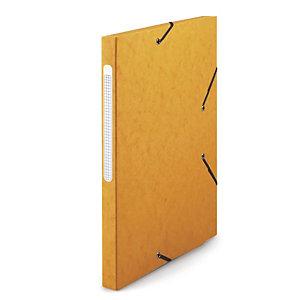 RAJA Chemise à élastiques 3 rabats  Carte lustrée 5/10 - Format 24 x 32 cm - Dos 2,5 cm  - Jaune