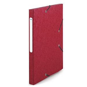 RAJA Chemise à élastiques 3 rabats  Carte lustrée 5/10 - Format 24 x 32 cm - Dos 2,5 cm - Rouge