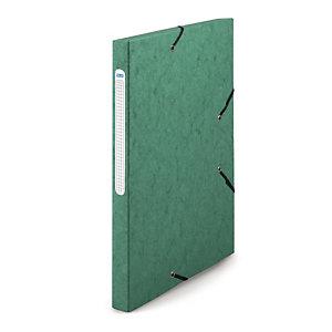 RAJA Chemise à élastiques 3 rabats  Carte lustrée 5/10 - Format 24 x 32 cm - Dos 2,5 cm - Vert foncé