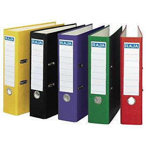 RAJA Color Archivador de palanca, A4, Lomo 75 mm, Capacidad 500 hojas, Cartón recubierto de polipropileno, Colores surtidos