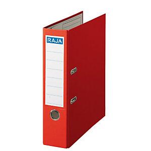 RAJA Color Archivador de palanca, A4, Lomo 75 mm, Capacidad 500 hojas, Cartón recubierto de polipropileno, Rojo