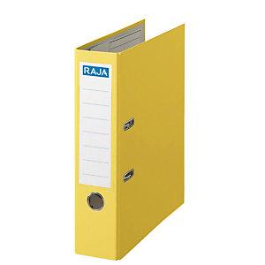 RAJA Color Archivador de palanca, Folio, Lomo 80 mm, Capacidad 520 hojas, Cartón recubierto de polipropileno, Amarillo