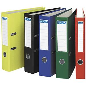 RAJA Color Archivador de palanca, Folio, Lomo 80 mm, Capacidad 520 hojas, Cartón recubierto de polipropileno, Colores surtidos