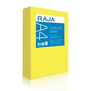 RAJA Coloured Paper Papel de Colores para Faxes, Fotocopiadoras, Impresoras Láser e Impresoras de Inyección de Tinta Amarillo Intenso A4 80 g/m²