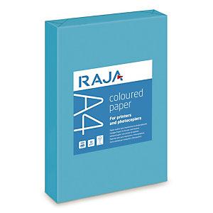 RAJA Coloured Paper Papel de Colores para Faxes, Fotocopiadoras, Impresoras Láser e Impresoras de Inyección de Tinta Azul Intenso A4 80 g/m²